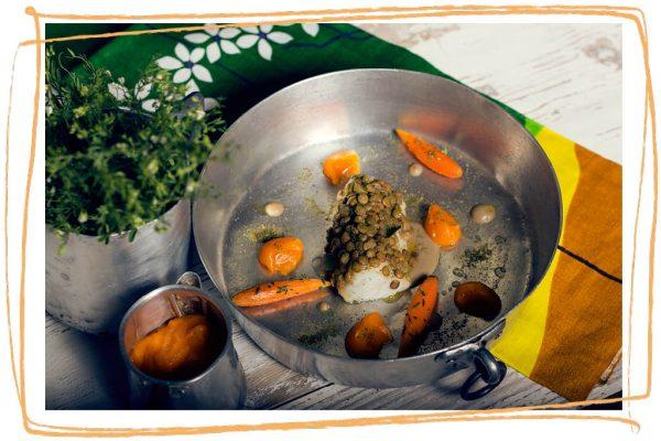Merluzzo con Lenticchia di Altamura I.G.P. e carote profumate al timo